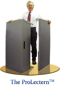Two Prolecterns™ standing side by side, one unfolded and the other folded.
